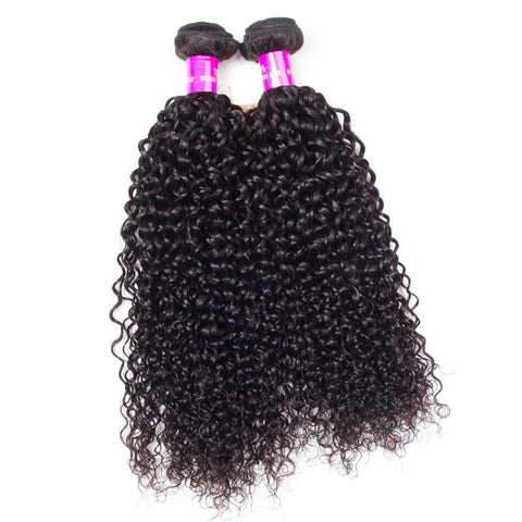 Queena Indian Kinky Curly 3 Bundles With 13x4 HD Lace Frontal Closure