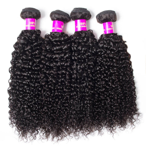 Image of Queena Indian Deep Curly Virgin Hair 4 Bundles Human Hair Weave
