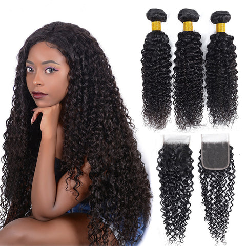 Image of Queena Human Hair Jerry Curly 4x4 Lace Closure With 3Bundles Indian Hair