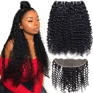 Queena Malaysian Jerry Curly Hair 3 Bundles With 13x4 Lace Frontal Closure