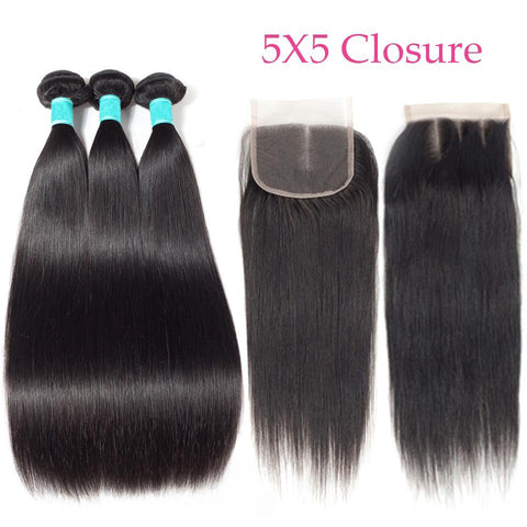 Image of QueenaStraight Peruvian Lace Closure With 3 Bundles Human Hair Wave