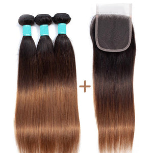 Queena T1b/4/30 Ombre 3 Bundles With Closure Malaysian Straight Human Hair