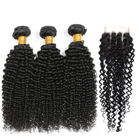 Image of Queena Malaysian Human Hair Kinky Curly 3 Bundles With Closure
