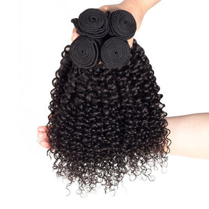 Queena Peruvian Jerry Curly Virgin Hair 4 Bundles Human Hair Weave