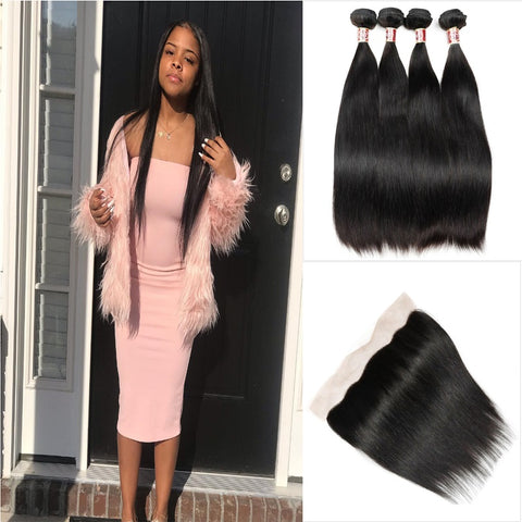 Queena Vietnam Straight 13x4 Transparent Lace Frontal With 4 Bundles