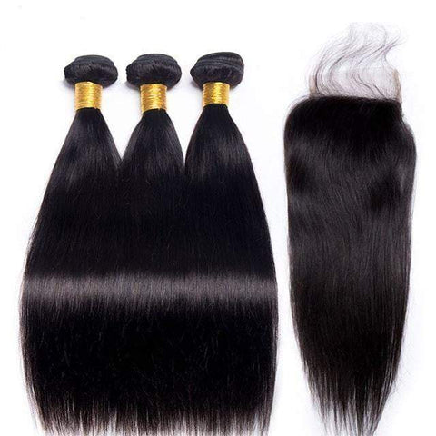 Queena Straight Hair Brazilian 3 Bundles With 4x4 HD Lace Closure