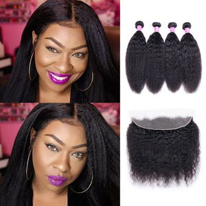 Queena 13x4 Lace Frontal Closure With 4 Bundles Kinky Straight Indian Virgin Hair