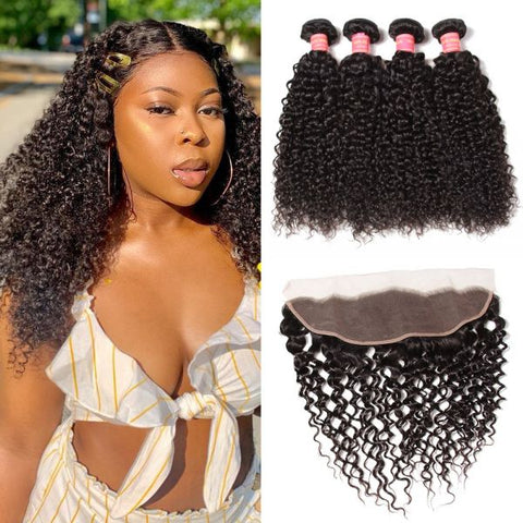 Image of Queena Vietnam Jerry Curly Hair 4 Bundles With 13x4 Lace Frontal Closure