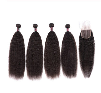 Queena Indian Kinky Straight Hair 4 Bundles With 4x4 Lace Closure On Sale