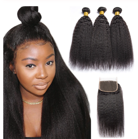 Image of Queena Peruvian 4x4 Lace Closure Kinky Straight Hair With 3 Bundles Human Hair