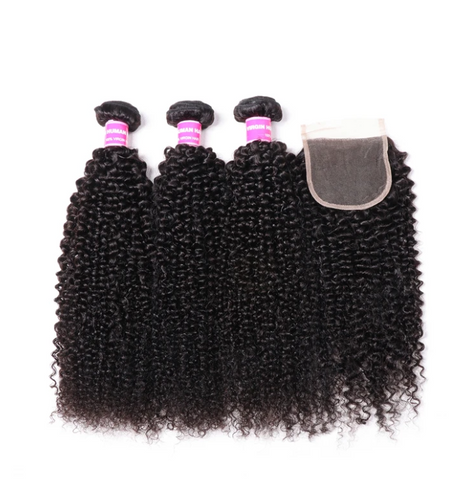 Image of Queena Deep Curly 4x4 HD Lace Closure With 3 Bundles Vietnam Human Hair