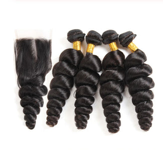 Queena Vietnam Loose Wave 4 Bundles With Free Part 4x4 Transparent Lace Closure