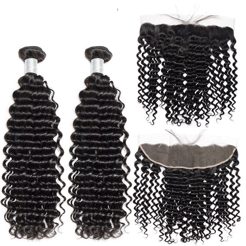 Image of Queena Malaysian Jerry Curly Hair 3 Bundles With 13x4 Lace Frontal Closure