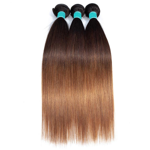 Image of Queena T1b/4/30 Ombre 3 Bundles With Closure Malaysian Straight Human Hair