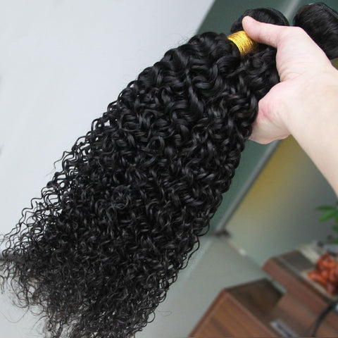 Image of Queena Malaysian Jerry Curly Virgin Hair 3 Bundles Human Hair Weave