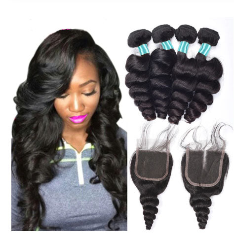 Image of Queena Malaysian Loose Wave Hair 4 Bundles With 4x4 HD Lace Closure