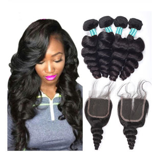 Queena Malaysian Loose Wave Hair 4 Bundles With 4x4 HD Lace Closure