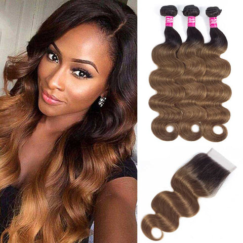 Image of Soul Lady Ombre Color 1B/30 Brazilian Hair 3 Bundles With Lace Closure Body Wave
