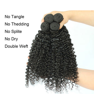 Queena Brazilian Kinky Curly Virgin Hair 4 Bundles Human Hair Weave