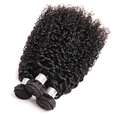 Image of Queena Malaysian Kinky Curly Virgin Hair 4 Bundles Human Hair Weave
