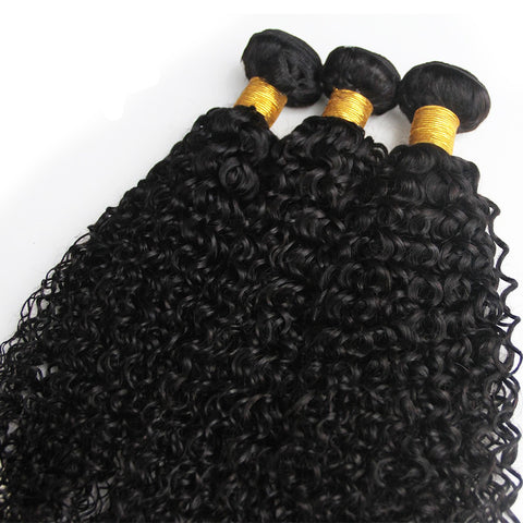 Queena Indian Jerry Curly Virgin Hair 3 Bundles Human Hair Weave