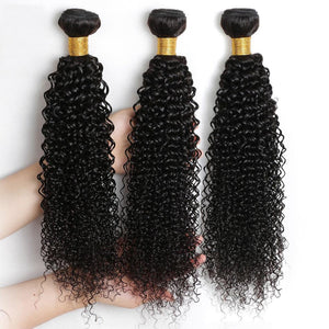 Queena Indian Deep Curly Virgin Hair 3 Bundles Human Hair Weave