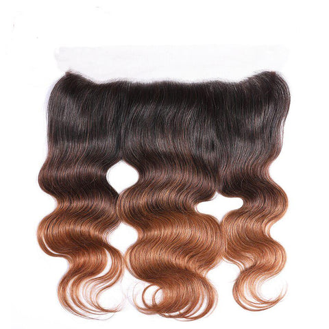 Soul Lady T1b/4/30 Peruvian Body Wave Ombre 3 Bundles With Frontal With Baby Hair