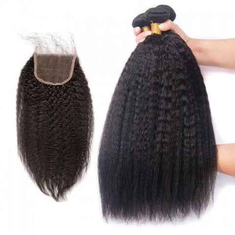 Image of Queena Indian Kinky Straight Hair 4 Bundles With 4x4 Lace Closure On Sale