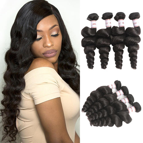 Queena Peruvian Loose Wave Virgin Hair 4 Bundles Human Hair Weave