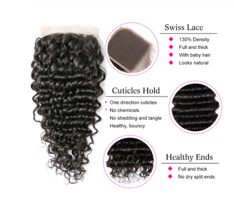 Image of Queena Indian Deep Wave Weave 4x4 HD Lace Closure With 3 Bundles Hair