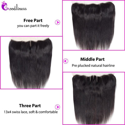 Image of Queena Straight Brazilian Human Hair 3 Bundles With 13x4 Lace Frontal Closure