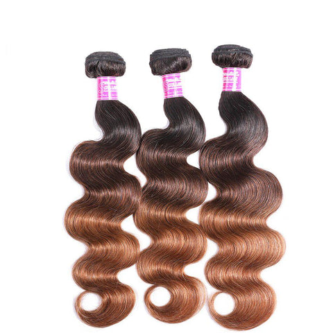 Queena T1b/4/30 Peruvian Body Wave Ombre 3 Bundles With Frontal With Baby Hair