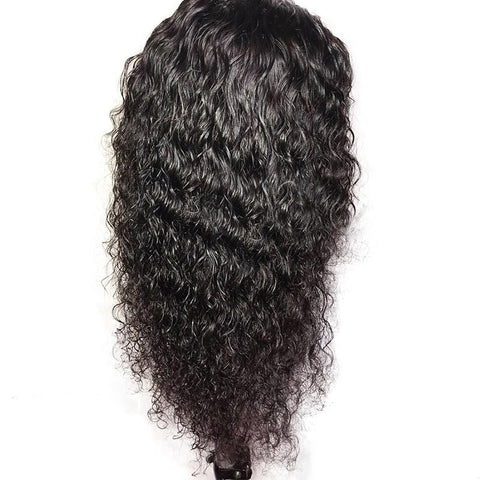 Queena Transparent Lace Frontal Jerry Curly Peruvian Human Hair Wigs Remy Hair