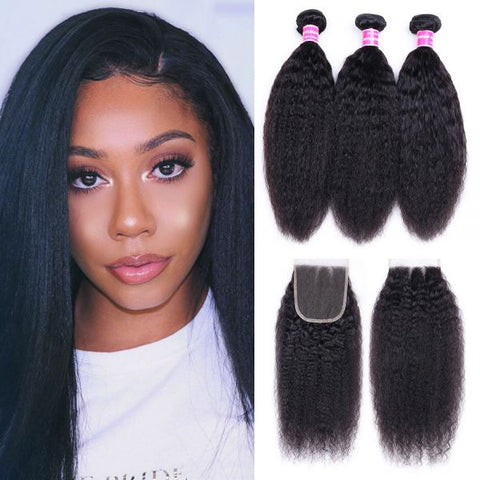 Image of Queena Indian Kinky Straight 3 Bundles With Lace Closure