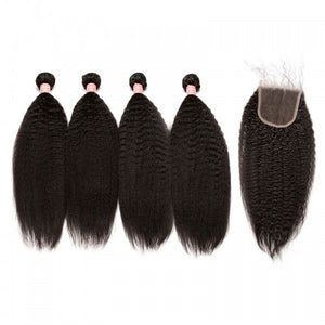 Queena Vietnam 4x4 Transparent Lace Closure With 4 Bundles Human Hair Kinky Straight