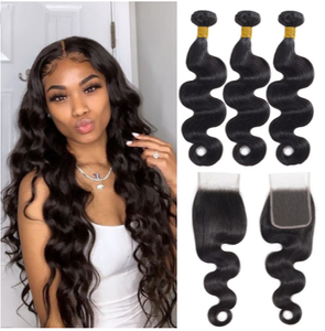 Queena Malaysian 3 Bundles Body Wave Hair With 4x4 Lace Closure