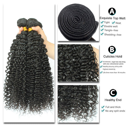 Image of Queena Brazilian Hair 3 Bundles 100% Human Hair Kinky Curly