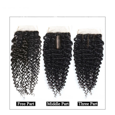 Image of Soul Lady 4x4 Lace Closure With 4 Bundles Indian Kinky Curly Hair