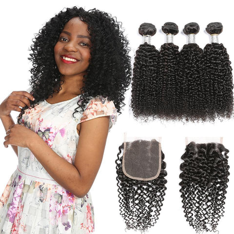 Image of Queena Brazilian 4 Bundles Kinky Curly Virgin Hair With Lace Closure Natural Color On Sale