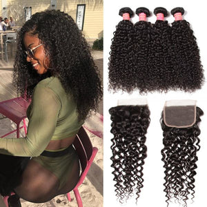 Queena 4x4 Transparent Lace Closure Free Part With Indian Kinky Curly Hair 4 Bundles