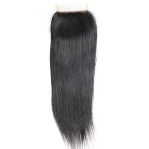 QueenaStraight Peruvian Lace Closure With 3 Bundles Human Hair Wave