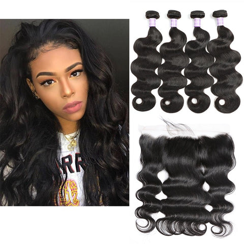 Image of Queena Free Part Lace Frontal With 4 Bundles Vietnam Body Wave Hair