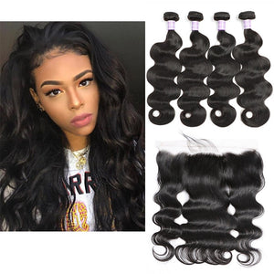 Queena Free Part Lace Frontal With 4 Bundles Vietnam Body Wave Hair