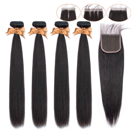 Image of Queena Peruvian Straight Hair 4 Bundles With 4x4 Lace Closure Human Hair