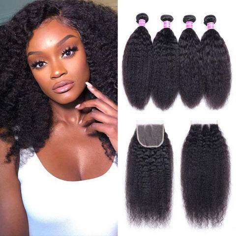 Image of Queena 4x4 Lace Closure With 4 Bundles Kinky Straight Malaysian Hair