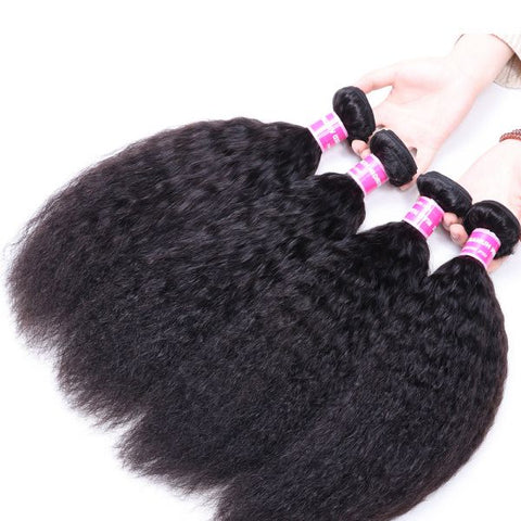 Image of Queena Malaysian Kinky Straight Virgin Hair 4 Bundles Human Hair Weave