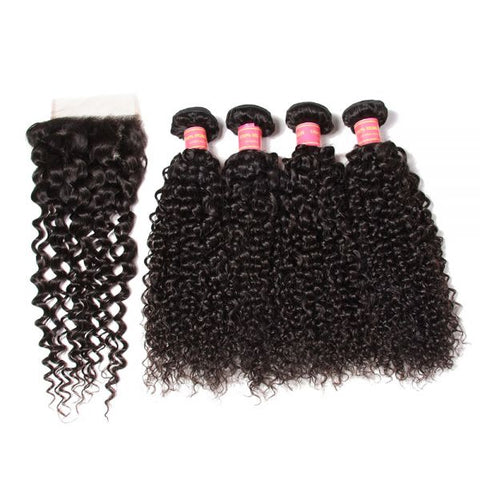 Image of Queena 4x4 Transparent Lace Closure Free Part With Indian Kinky Curly Hair 4 Bundles