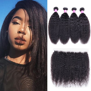 Queena Brazilian Kinky Straight Hair 4 Bundles Deals With Lace Frontal Closure 13X4 Inch