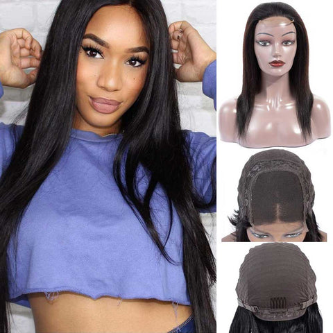 Straight 4x4 Lace Closure Wigs Brazilian Virgin human Hair Natural
