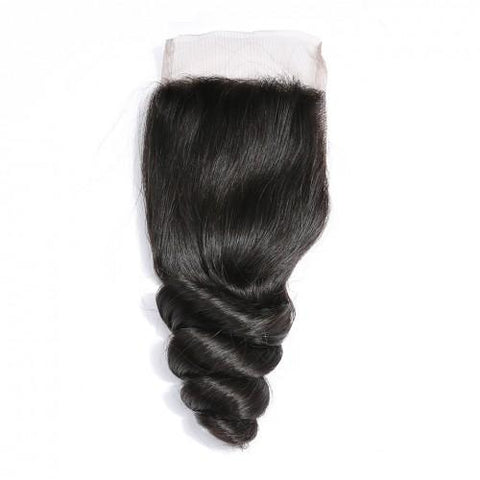 Image of Queena Indian Loose Wave Weave 4x4 Lace Closure With 3 Bundles Deals